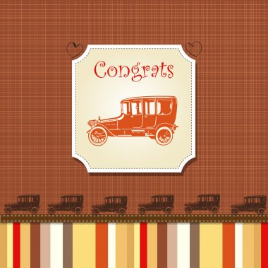 Congrats card with stripes and old cars