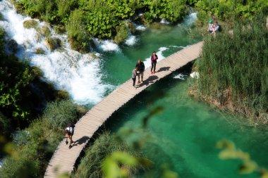 Beautiful landscapes waterfall, rock walls, stunning nature views in National park Plitvice lakes - Plitvička jezera