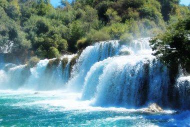 Many waterfalls and stunning nature landscapes in Krka National Park, Croatia