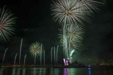 Beautiful colourful fireworks on dark sky background