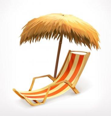 Beach umbrella and lounge chair, vector icon