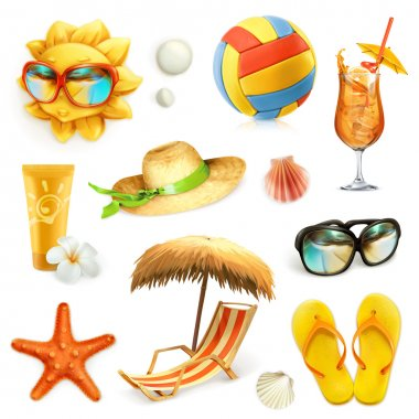 Summer beach, set of vector icons