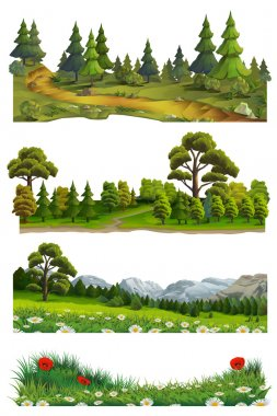 Nature landscape, vector set