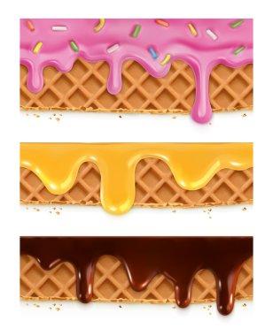 Waffles chocolate, honey, glaze, vector seamless horizontal patterns