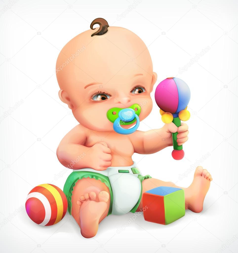 dd875f1e0 Niño con un sonajero, bebé con chupete, un niño en pañales, un niño  explorando sus juguetes son maraca, icono vectorial — Vector de ...