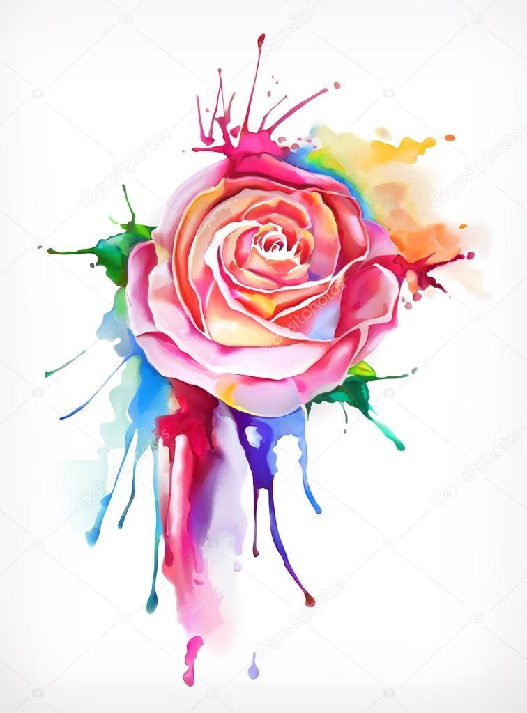 Acuarela pintura flor color de rosa archivo im genes for Pintura ligera de color topo