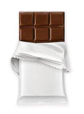Chocolate bar, white polyethylene wrap