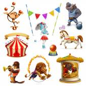 Fotografia Set di icone vettoriali, maglia Circus, animali divertenti,