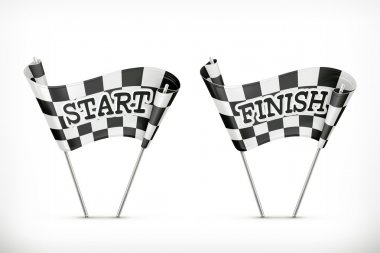 Checkered flag, start and finish