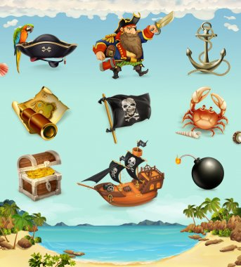 Sea pirates, funny character and objects