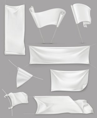 White banners and flags