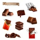 Fotografie Čokoládové tyčinky a kousky, vektorové sada