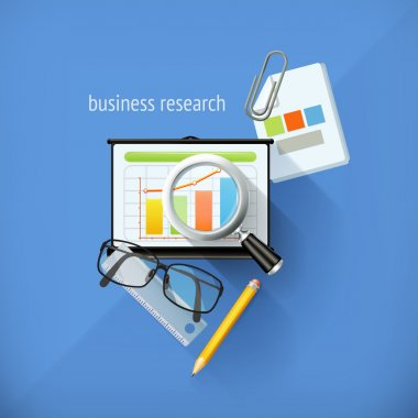 Start-up business research, analysis and solution, flat design,