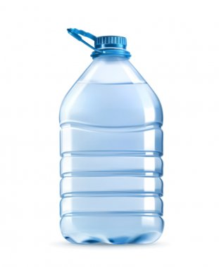 Big plastic bottle of potable water, barrel with handle, vector