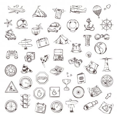 Travel and navigation, sketches of icons vector set