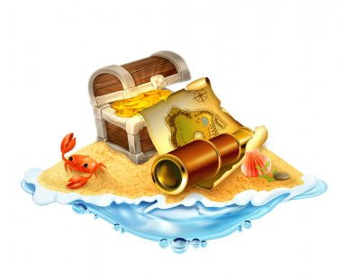 Treasure island, vector illustration isolated on white backgroun