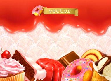 Sweet background, vector illustration