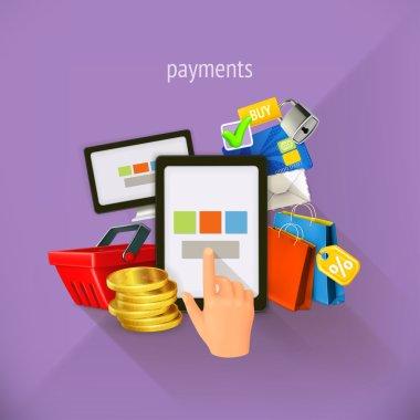 E-commerce and payments, vector illustration, flat design. Set i