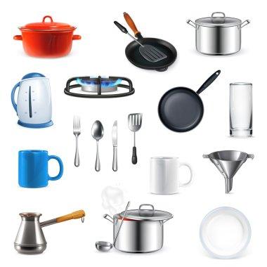 Kitchen utensils, vector set