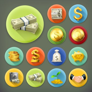 Money and coins, business and finance long shadow vector icon se