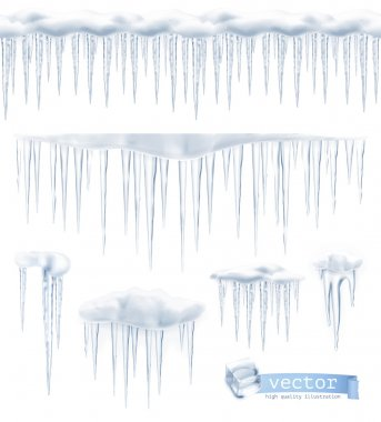 Icicles, set vector