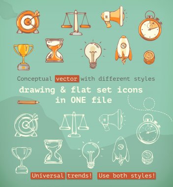 Drawing and flat set icons