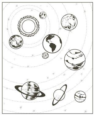 Black drawing of solar system