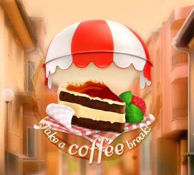 Coffee cake, an invitation to a cup of coffee, breakfast or lunch time