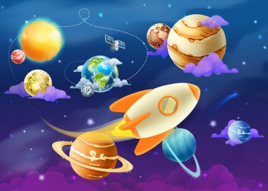 Solar system with planets illustration