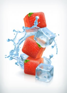 Strawberry ice cubes and a splash of water