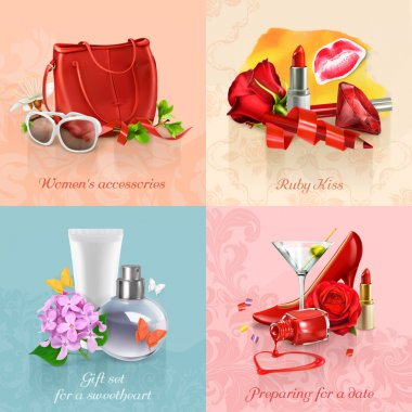 Beauty and cosmetics set of concepts   backgrounds
