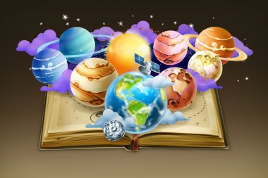 Book with planets,   background