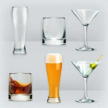 Glasses for alcohol drinks