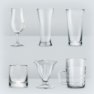 Transparent glasses goblets