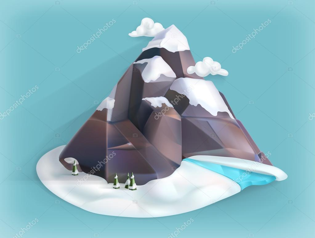 Mountain winter, low poly style