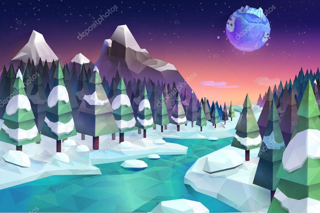 Winter forest,   background