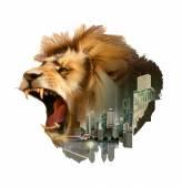 Fotografia Città e testa di leone ruggente