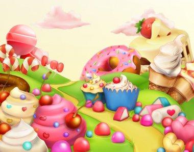 Sweet landscape, vector background stock vector