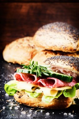 Fresh sandwich with salami and cheese