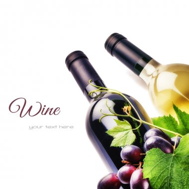 Bottles of wine with fresh grape