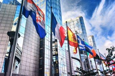 "Картина, постер, плакат, фотообои ""отказ от флагов перед зданием европейского парламента "", артикул 68355539"