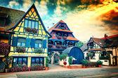 Fotografie Stadt mit typischen bunten Fachwerkhäusern