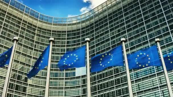 European Union flags waving