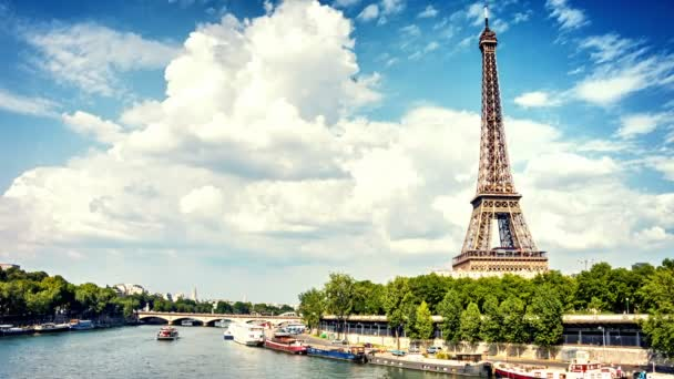 Cityscape with Eiffel tower and boats
