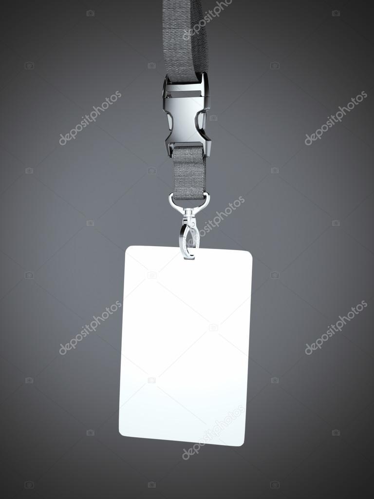 882efc979ea6 Distintivo blanco en blanco con colgante de cuello — Foto de stock ...