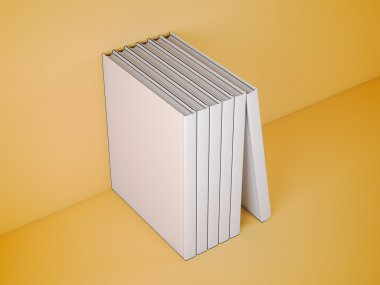 Vertically standing template books. 3d rendering