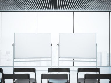 Conference room with two blank whiteboards . 3d rendering