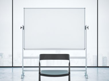 Black chair and whiteboard in office interior. 3d rendering
