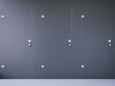 Closed public toilet cubicles with dark doors. 3d rendering