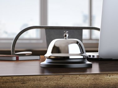 Service bell on the office table. 3d rendering